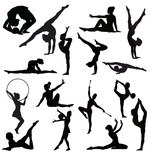 Set of gymnasts vector silhouettes