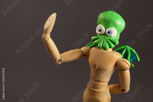 Cthulhu wooden dummy. Poster