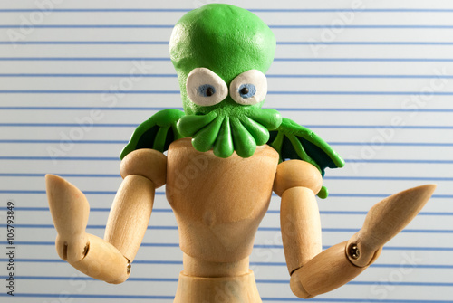 Poster Cthulhu wooden dummy.