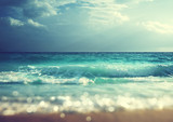 Fototapety beach in sunset time, tilt shift soft effect