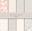 Cotton fabric Pink Grey Seamless Patterns