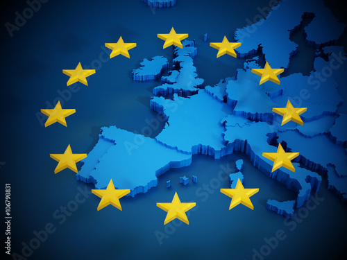 Obraz European Union map and aligned stars in circle shape forming a flag