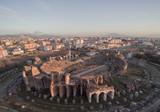 Veduta Aerea anfiteatro Santa Maria Caserta con sfondo del Vesuvio