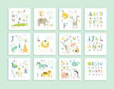 Fototapety Cute zoo alphabet with funny animals in vector . Letters.