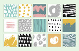 Fototapety Set of 15 creative cards. Hand Drawn textures made with ink.