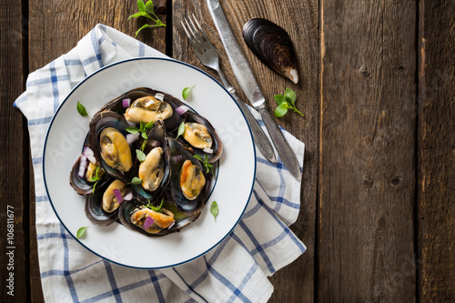 Mussels with red onion and oregano Poster