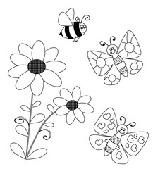 flowers and flying butterlies and bee - coloring book for children