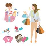 女性 買い物 イラスト