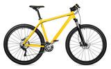 new yellow mountain bike bicycle isolated on white background / Neues mountainbike Fahrrad gelb isoliert auf weißem Hintergrund - 106834048