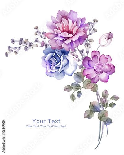 Fotobehang Planten watercolor illustration flowers in simple background