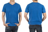 Close up of man in front and back blue shirt on white background