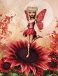 Baśniowa wróżka i czerwone kwiaty na tle księżyca