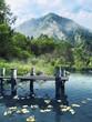 Drewniane molo na jeziorze w górach