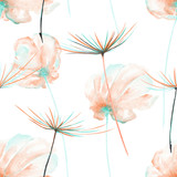 Seamless floral pattern with the watercolor pink and mint air flowers and dandelion fuzzies, hand drawn on a white background