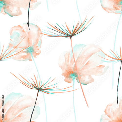 Seamless floral pattern with the watercolor pink and mint air flowers and dandelion fuzzies, hand drawn on a white background - 106864400