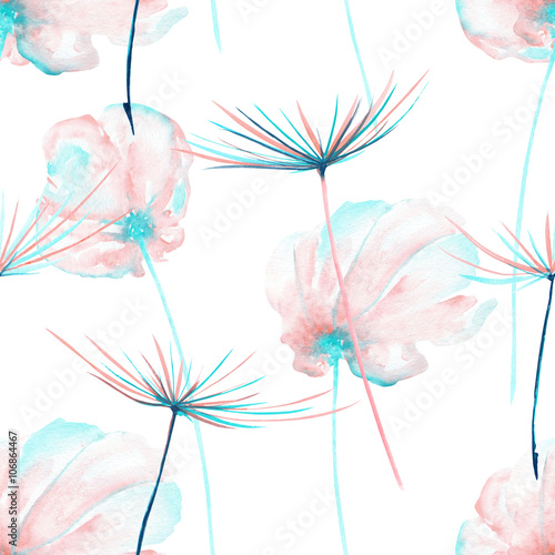Seamless floral pattern with the watercolor pink and mint air flowers and dandelion fuzzies, hand drawn on a white background - 106864467