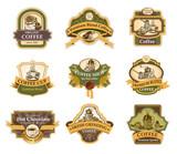 Fototapety Organic Coffee labels set.