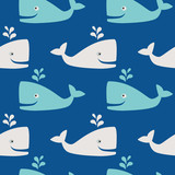 Whales in the sea- seamless pattern