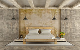 Fototapety Wooden double bed in grunge room