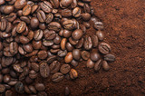 Fototapety Coffee beans with ground coffee