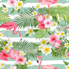 Flamingo Background. Tropical Flowers Background. Vintage Seamless Pattern