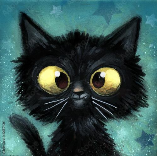 Naklejka gato negro ilustracion