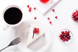 Fototapety piece of cake with berries and coffee, top view