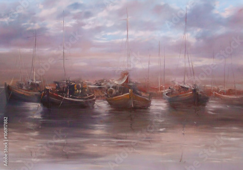 boats moored in the harbor handmade painting