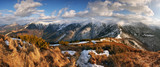 Panorama mountain with sun, Vratna valley, Slovakia