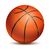 Fototapety Orange Basketball Ball with Pimples and Shadow. Realistic Vector Illustration. Isolated on White Background.