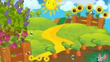 Cartoon scene of a farm - illustration for the children