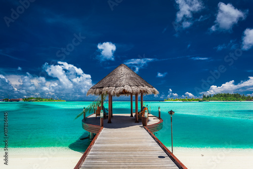 Traditional boat jetty in luxury resort of Maldives, Indian Ocea