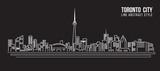 Fototapety Cityscape Building Line art Vector Illustration design - Toronto city