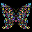 floral butterfly  on black background