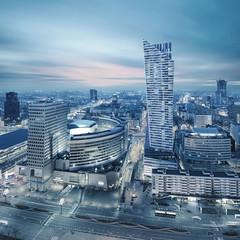 Panorama nowoczesnej Warszawy w nocy