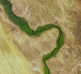 River Nile from Landsat satellite. Elements of this image furnished by NASA.