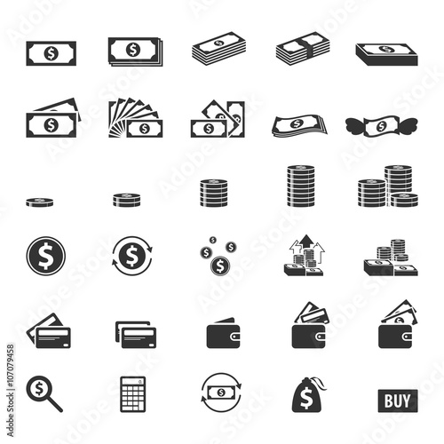 Money and coin icon set,Vector EPS10.