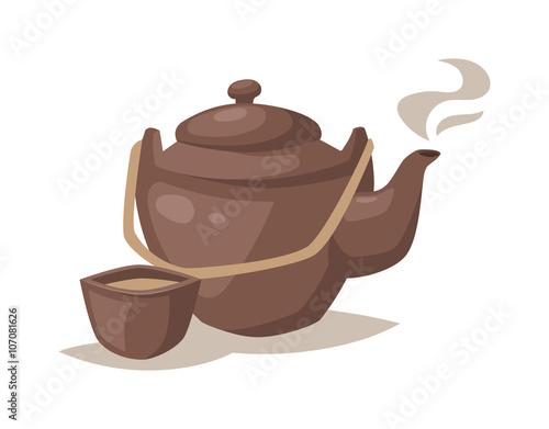 """Vector gray china cartoon teapot and cup with hot tea ..."