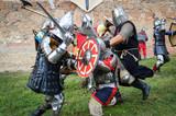 Knights battle on the field