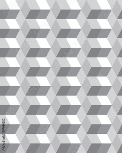 Fototapeta Geometric gray hexagon seamless pattern, vector