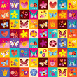 cute butterflies ladybugs flowers nature pattern