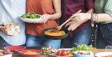 Fototapety Friends Kitchen Cooking Dining Togetherness Concept