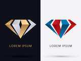 Fototapety Abstract Jewelry, diamond, gemstone, designed using gold and silver , red and blue colors graphic vector