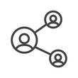 Vector line share, network icon suitable on white background
