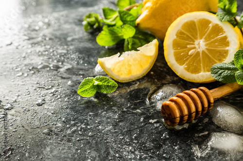 Lemonade ingredients on marble background