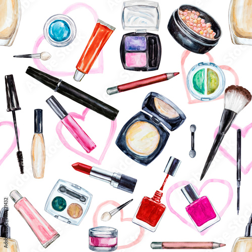 Seamless watercolor pattern with cosmetic, beauty items © LinaTruman