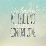 "Motivational grunge poster or postcard quote ""Life begins at the"