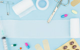 Medical equipment, on light blue background with copy-space - 107134265