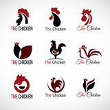 Black red and brown Chicken logo vector set design
