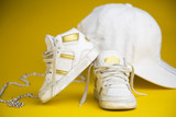 white sneakers for children / portrait of baby sneakers inspired by the hip hop style